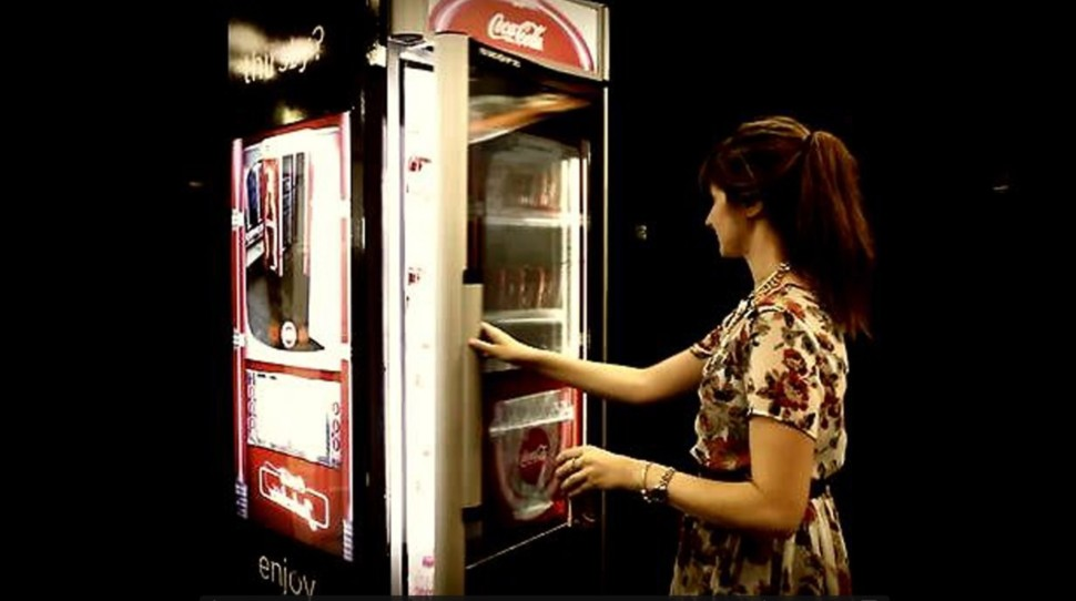 Interactive cooler coca cola