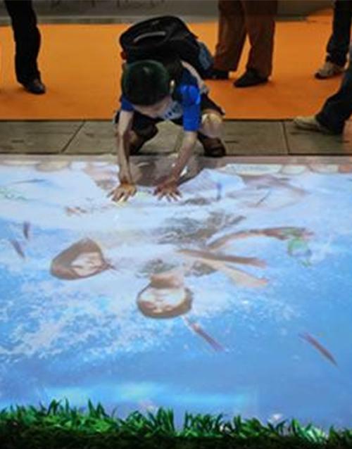 Interactive projections wall floor