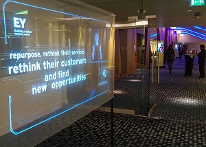 holographic transparent screen in EY conference portfolio
