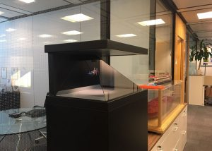 Holographic display in a bank