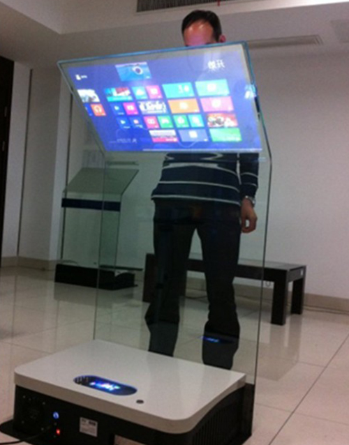 transparent podium projection kiosk