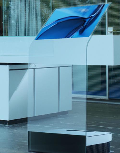 ultimate transparent screen hologram podium kiosk uk