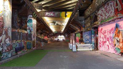 Holographic installation in graffiti tunnel london