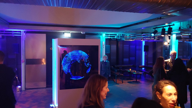 Holographic box with a LED Fan event central london for BFI 14