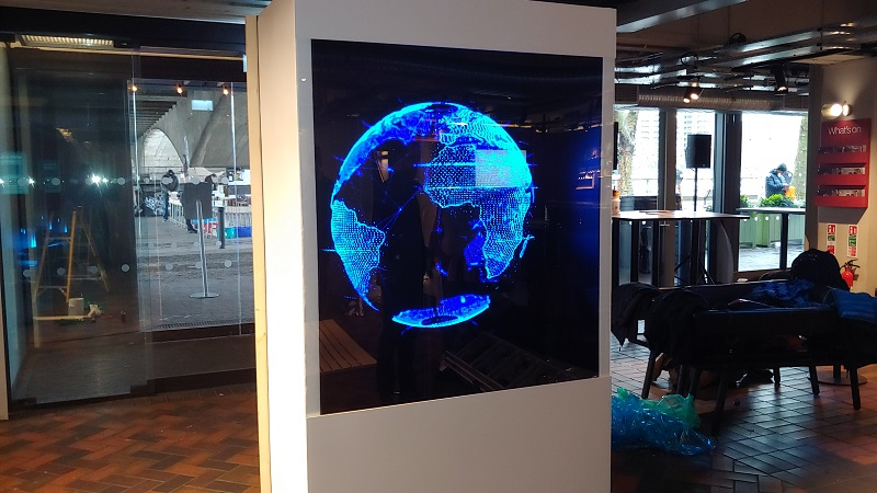 Holographic box with a LED Fan event central london for BFI 3