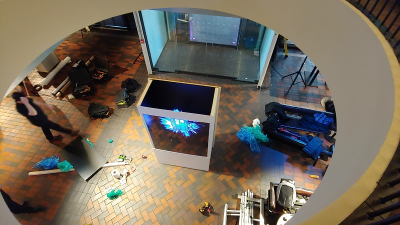 Holographic box with a LED Fan event central london for BFI 7