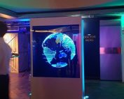 Holographic box with a LED Fan event central london for BFI Holograms portfolio
