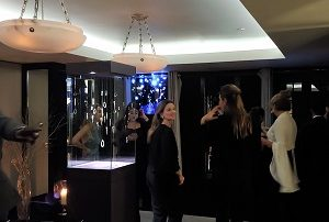 holographic LED Fan display in a event jewellery brand Boghossian